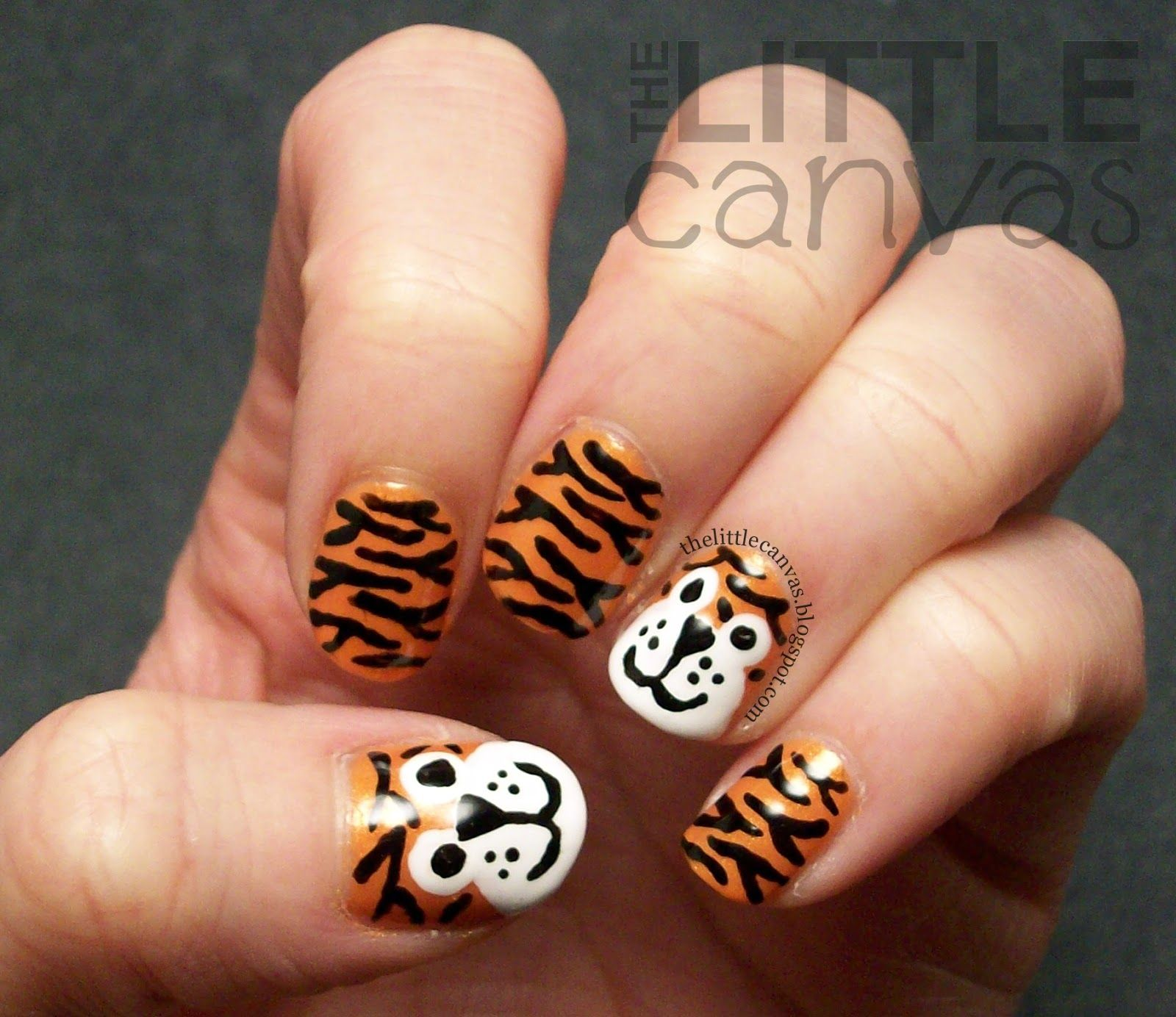 Cute Tiger Nailart With Zoya Nailpolish In Lianne Nail Art