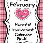 """If you want more meaningful """"homework"""" for your PK or Kindergarten students, this freebie February  Parental  Involvement Calendar is for you.  Stu..."""