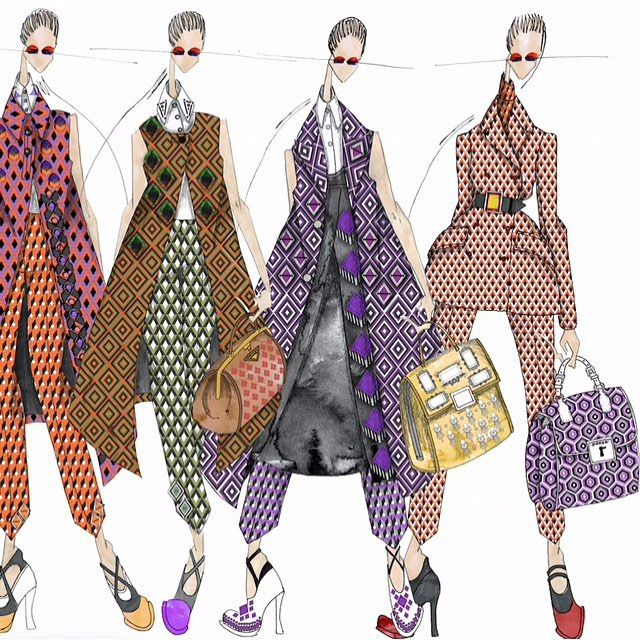2/2 #Prada Fall 2012 Final line up. #JLarkowskyIllustration