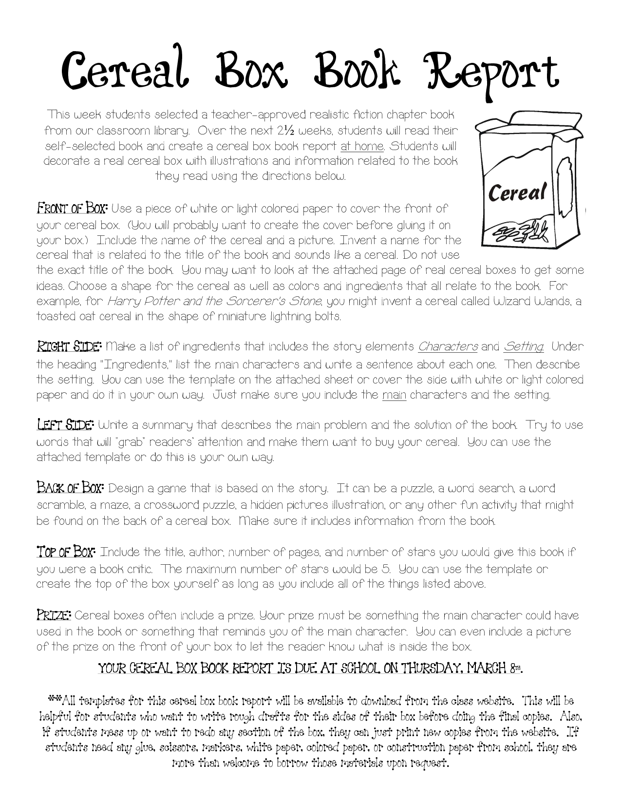 Cereal Box Book Report Instructions Cereal Box Book Report Template