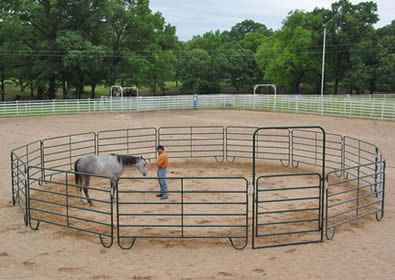 Powder coated round pipe panels pen for arenas
