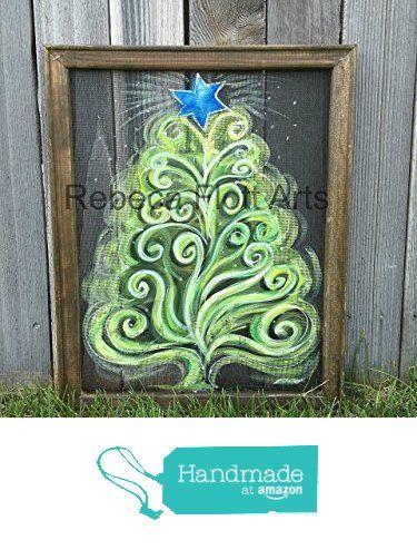 Happy Christmas tree, Christmas tree on window screen, green tree, pine tree, window screen, recycled, up-cycled, unique, handmade, hand painted from RebecaFlottArts https://www.amazon.com/dp/B016APUZ8A/ref=hnd_sw_r_pi_dp_lBJbybDAP3CZ0 #handmadeatamazon