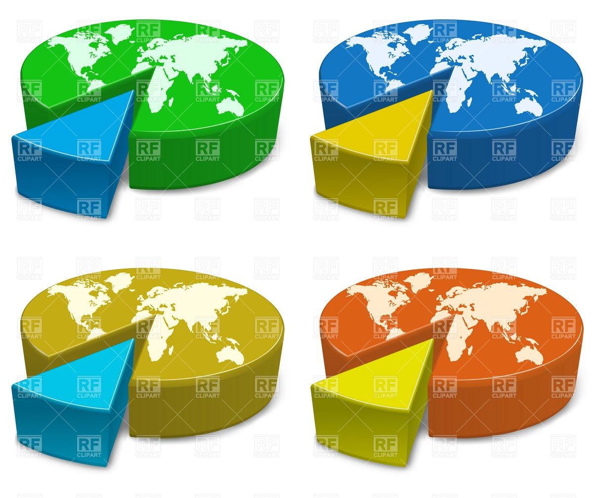 small resolution of download royalty free pie charts of the globe with the world divided into two parts