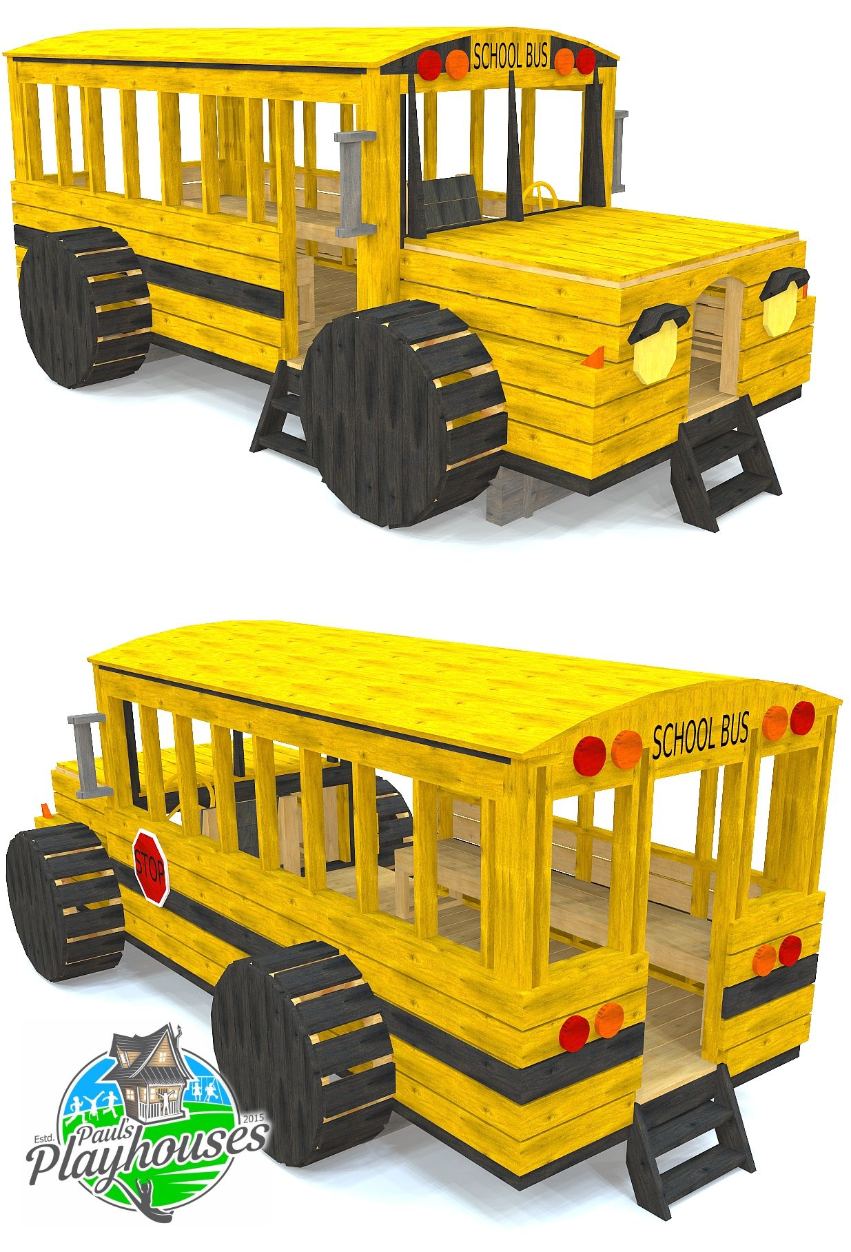 Yellow School Bus Play Set Plan With Images Playset Plans