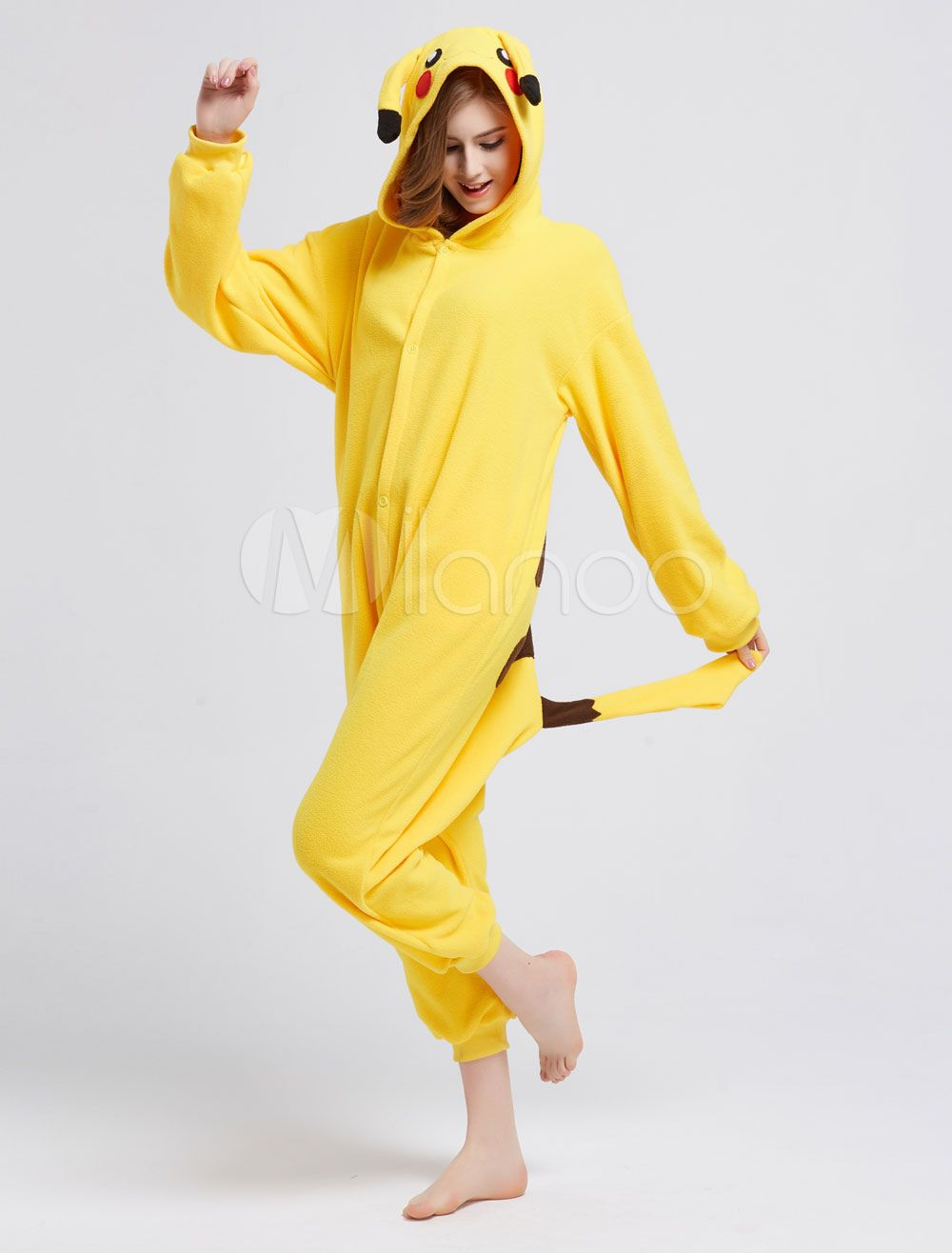 357974a57296 Kigurumi Pajamas Pikachu Onesie Yellow Pokemon Fleece Flannel ...