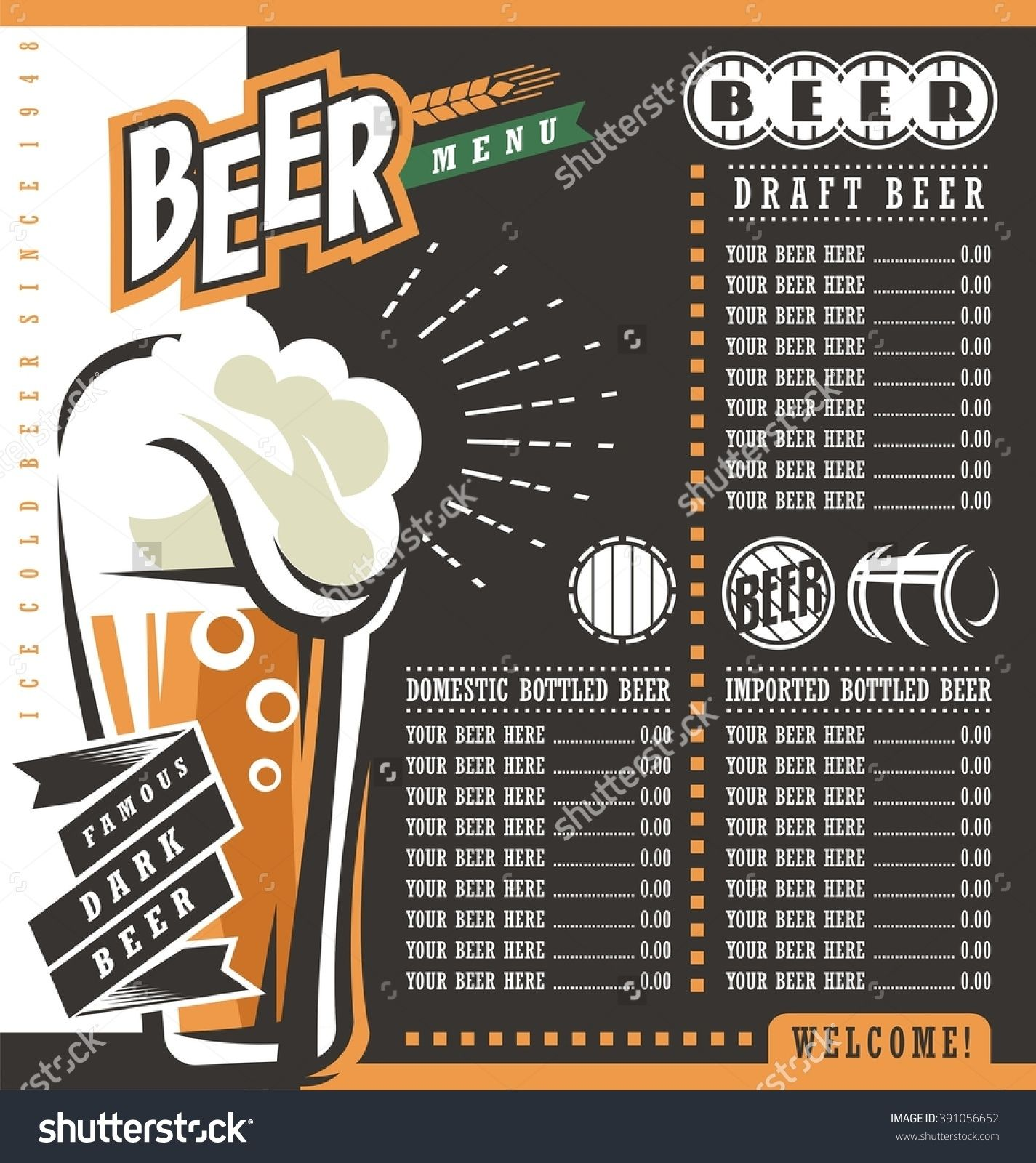 Beer Menu Retro Design Template Pub Price List With Famous Dark