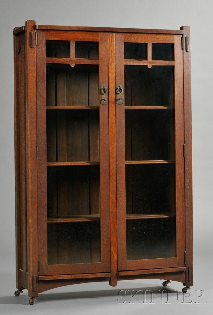 Arts Crafts Bookcase Oak C 1912 Two Glass Doors With Mullions At