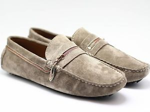 MENS FLAT GREY SMART MOCCASIN CASUAL LOAFERS DRIVING HOLIDAY SHOES SIZES 6-11