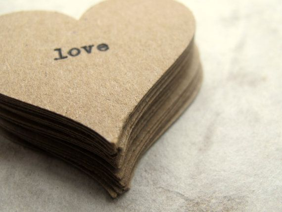 Kraft Love Confetti 20  Wedding Table Decor Favor Cards by joblake, via @Etsy