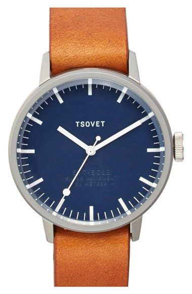 TSOVET 'SVT-SC38' Leather Strap Watch, 38mm available at #Nordstrom