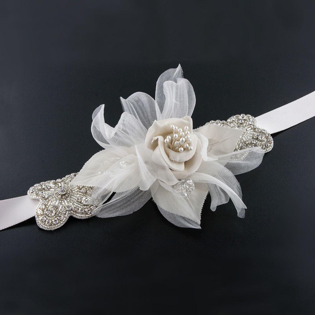Giavan Sash With Silk Flower Crystal Accents James Ciccotti