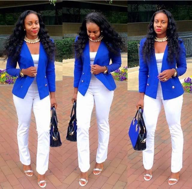 tenue tr s l gante veste bleu lectrique petit top blanc pantalon droit blanc taille haute. Black Bedroom Furniture Sets. Home Design Ideas