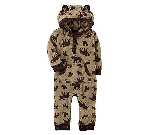491b89f02 Carter s Baby Boys  Hooded Fleece Moose Jumpsuit 6 Months
