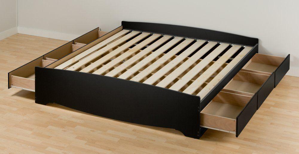 Amazon Com Prepac Sonoma King Platform Storage Bed Black Home