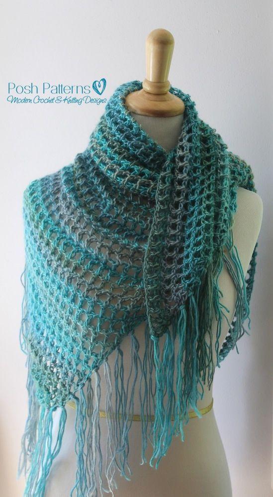 Crochet PATTERN - Crochet Triangle Scarf Pattern | Dreieckstuch und ...