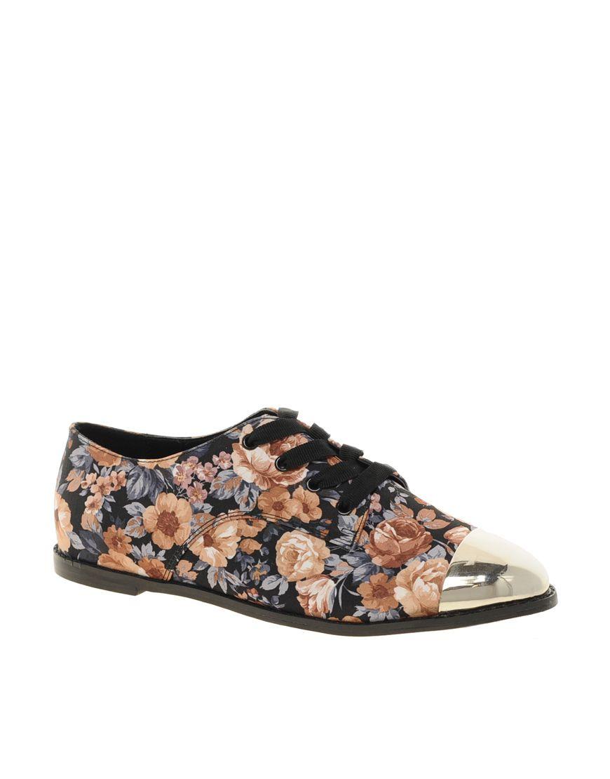 de17d70e07fe Asos Asos Mermaid Flat Shoes with Metal Toe Cap in Floral