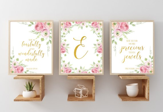 Personalized Nursery Name Set Gold Wall