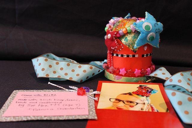 Crown with B1 and B2 by Joe Heath and Patricia Chamberlain, Fabric, beads, cardboard