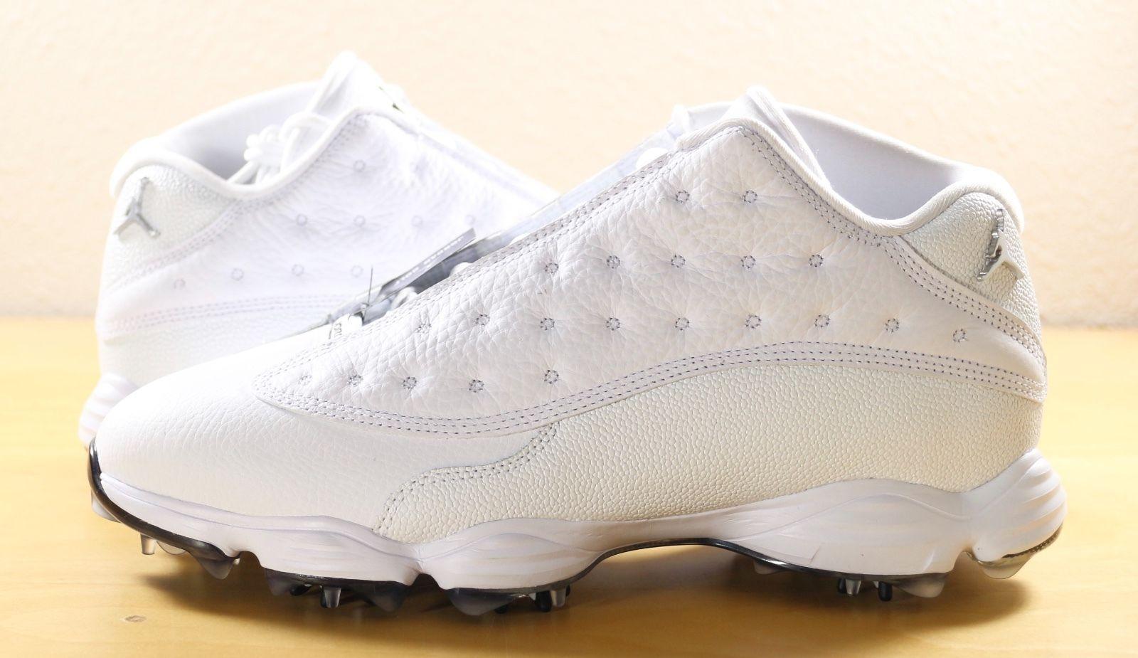 2532bd2de17 Nike Air Jordan 13 XIII Retro Low Golf Shoes Cleats White Black 917719-102  9.5