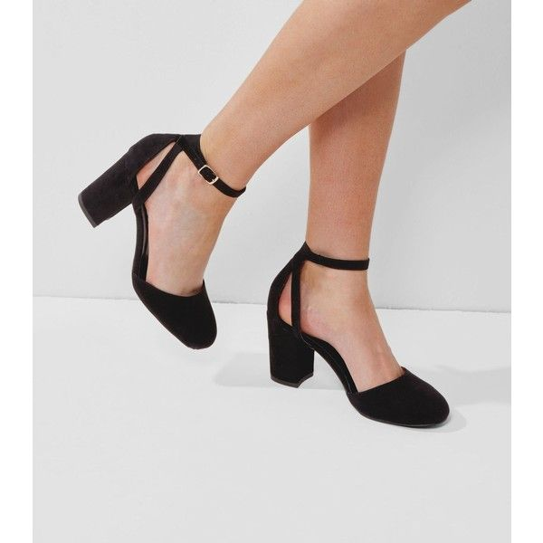 New Look Wide Fit Black Suedette Ankle Strap Heels ($29) ❤ liked ...