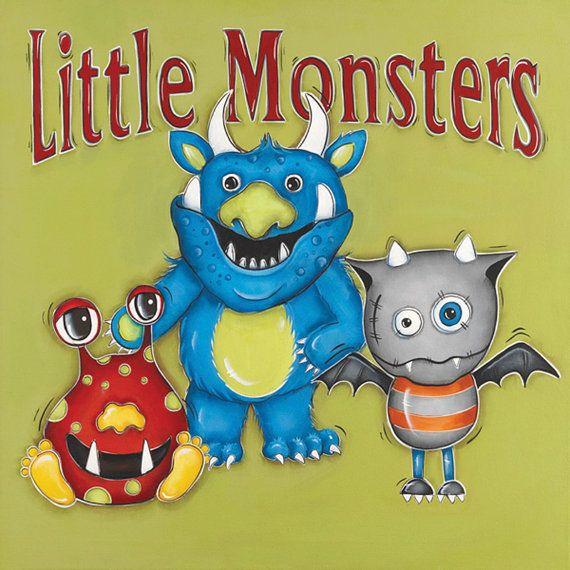 Monsters Wall Art ~ Children\'s Wall Art ~ Boys Room Decor ~ Monsters ...