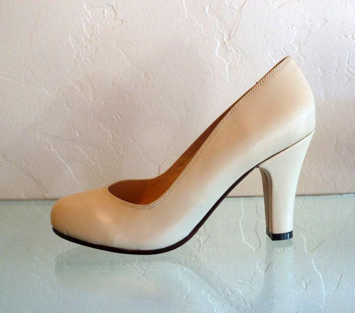Remix Vintage Shoes Babydoll Heels In Black Red Brown Dark Brown Pink Yellow Ivory