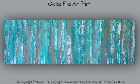Office decor, Large aqua teal abstract art print, Teal wall ...