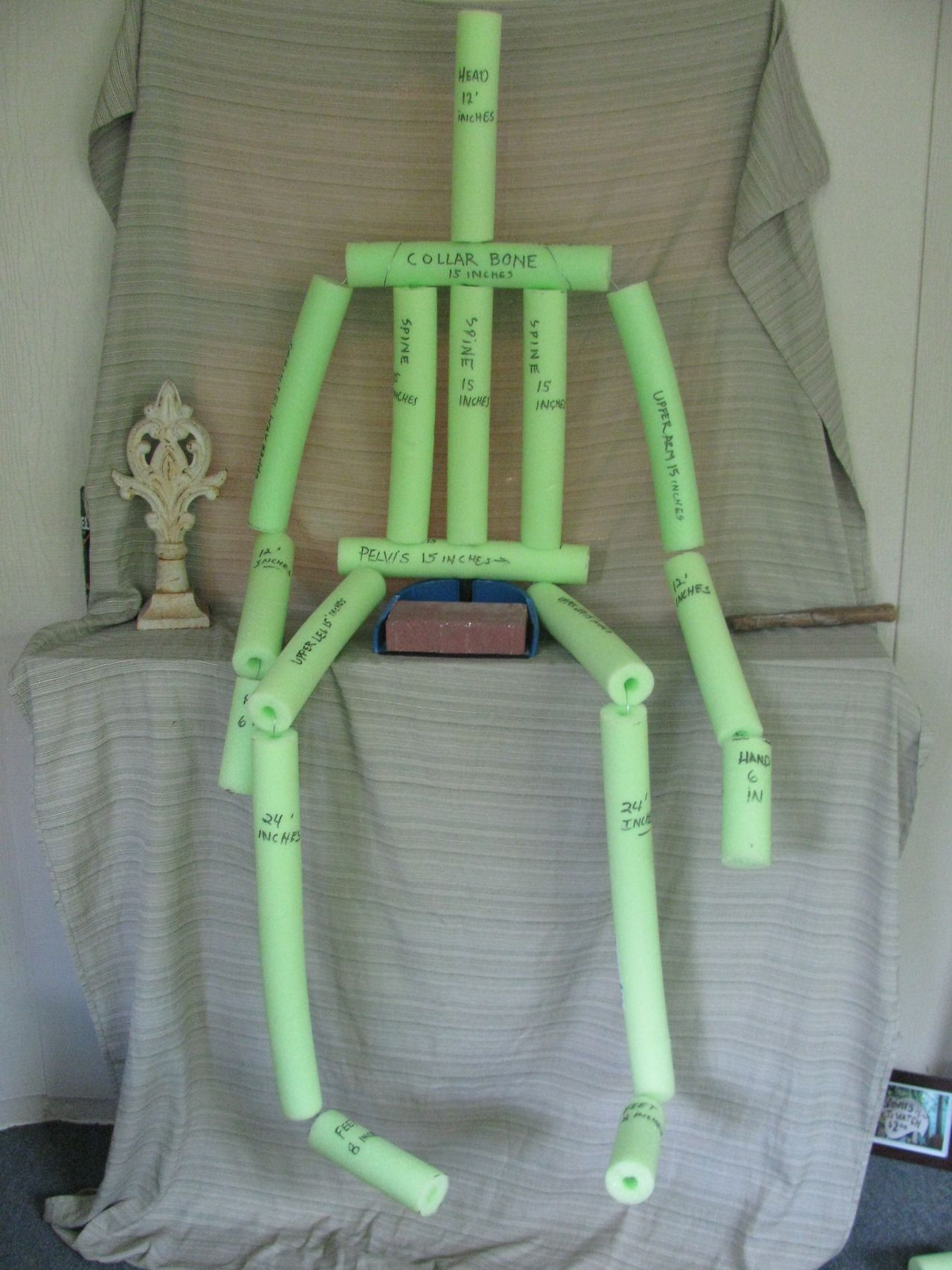 Noodle Man Made From Pool Noodles From The Dollar Store Great Base For Dressing For Halloween Or For An Pool Noodle Halloween Halloween Props Diy Pool Noodles
