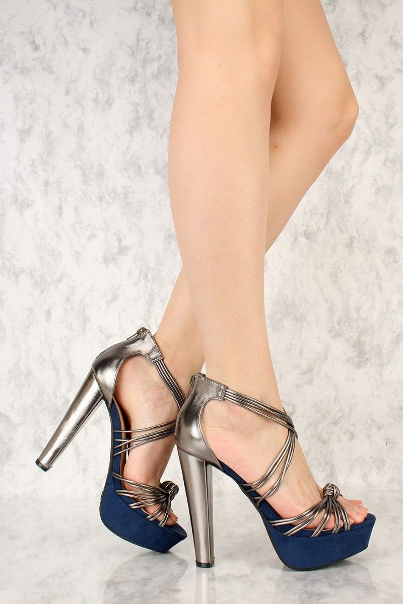 319d52289f0 Pewter Strappy Knotted Accent Open Toe Platform Pump Chunky High Heels Faux  Leather
