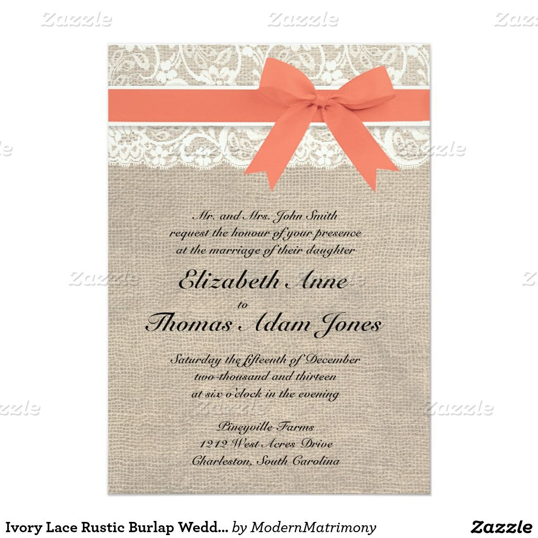 Ivory Lace Rustic Burlap Wedding Invitation- Coral 5x7 Paper ...