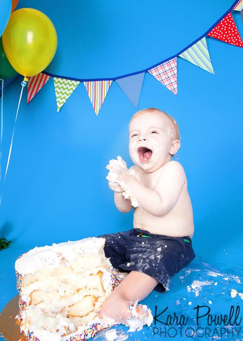 Houston TX One Year Old Eating His Birthday Cake During Smash Taken By Kara Powell Photography