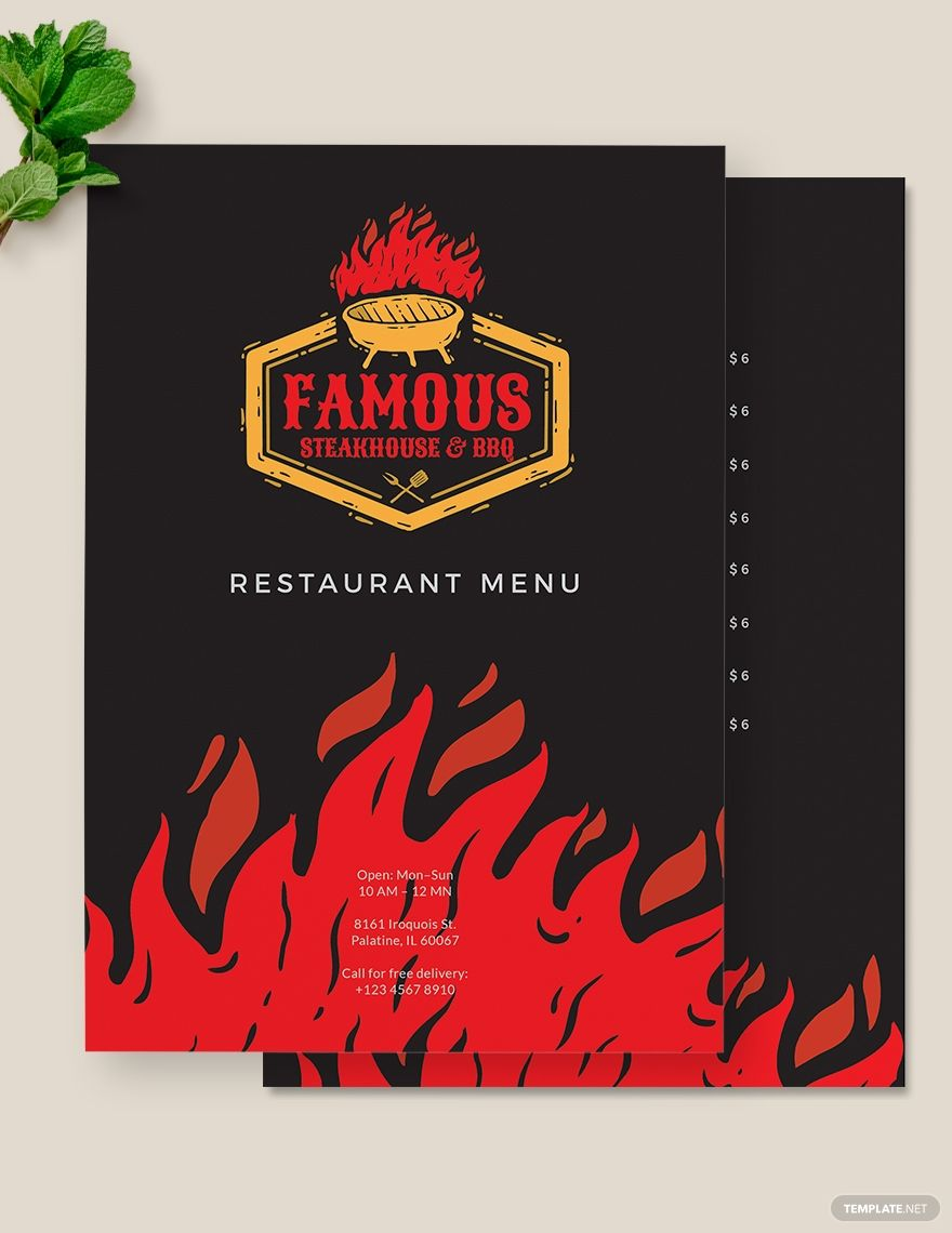 Steakhouse BBQ Restaurant Menu Template #AD, , #ad, #BBQ, #Steakhouse, #Restaurant, #Template, #Menu