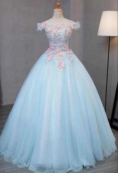 Light Blue Long Floral Tulle Sweet 16 Dress, Quinceanera Dress