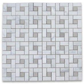 Carrara White Target Pinwheel Mosaic Tile W Gray Dots Honed 14 99 Lowes Has For 10 98