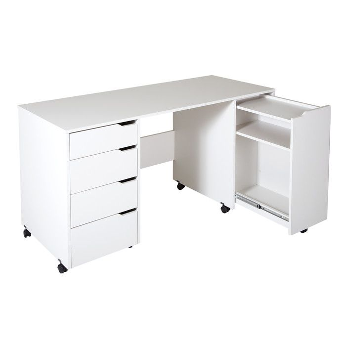 You Ll Love The Marine Computer Desk With Caster At Wayfair Co Uk Great Deals On All Office Product Craft Tables With Storage Sewing Craft Table Craft Table