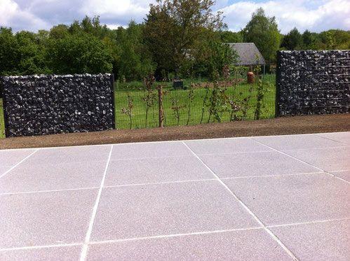 aménagement terrasse terasse terrase marlux dalle béton mur gabions - Dalle De Beton Exterieur