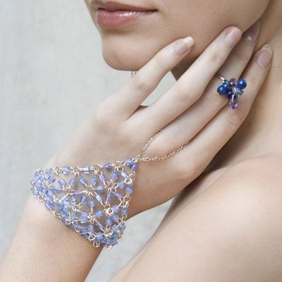 Adams Designs Sterling Silver Slave Bracelet With Lavender Beads
