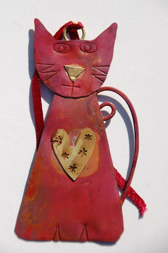 Little handmade metalwork cat with heart by SharonMcSwiney on Etsy