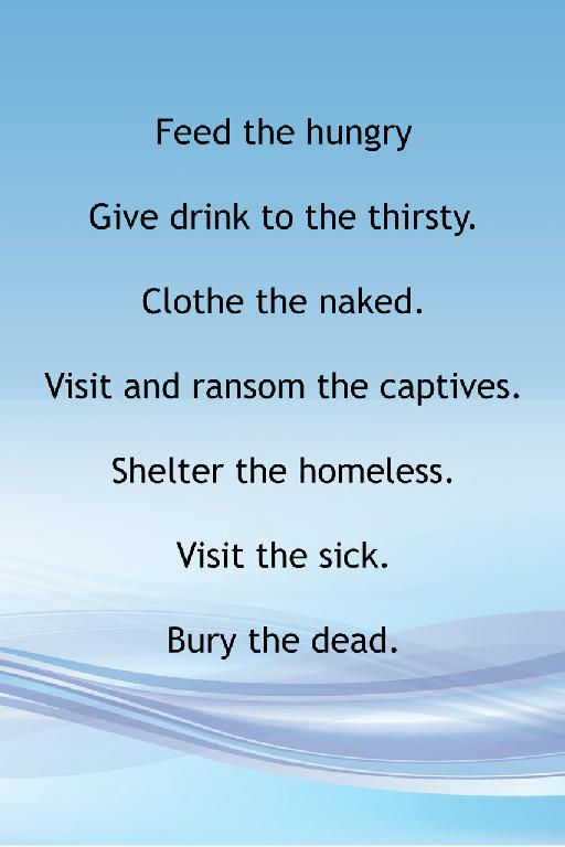 Catholic teaching feed hungry clothe naked