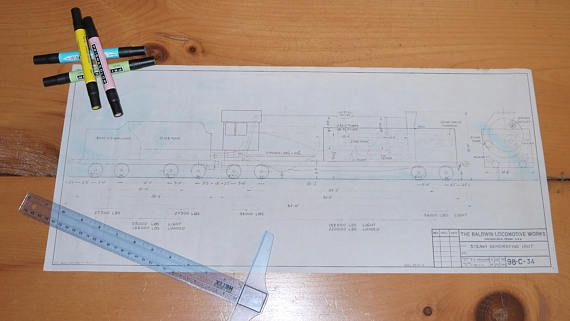 Vintage Baldwin Locomotive Works Train Blueprints-Copies by - copy plane blueprint wall art