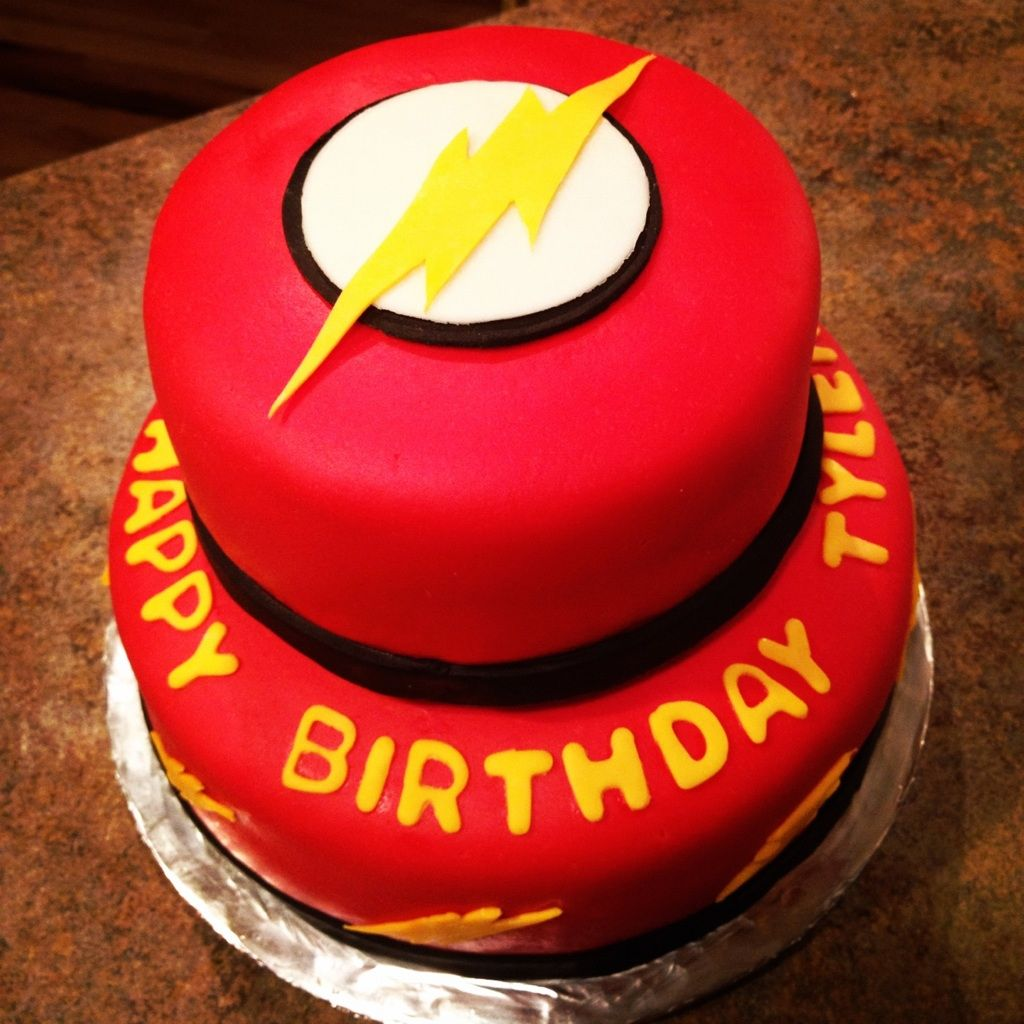 """""""The Flash"""" themed bday cake I made"""