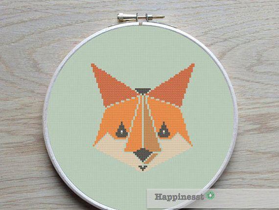 Cross stitch pattern fox geometric pattern modern von Happinesst
