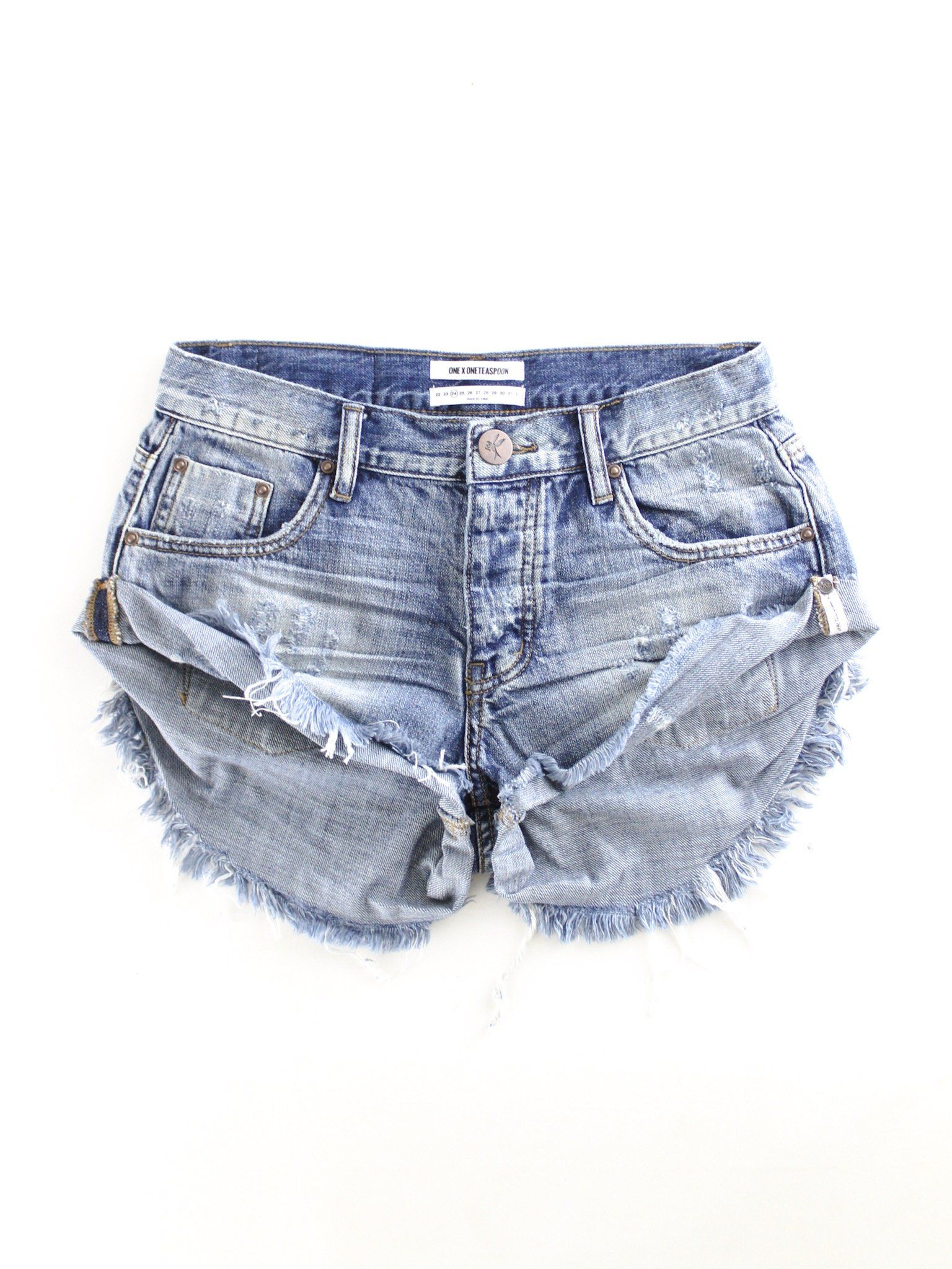 One Teaspoon Bandits Denim Shorts Denim Blue Jean Shorts Outfit