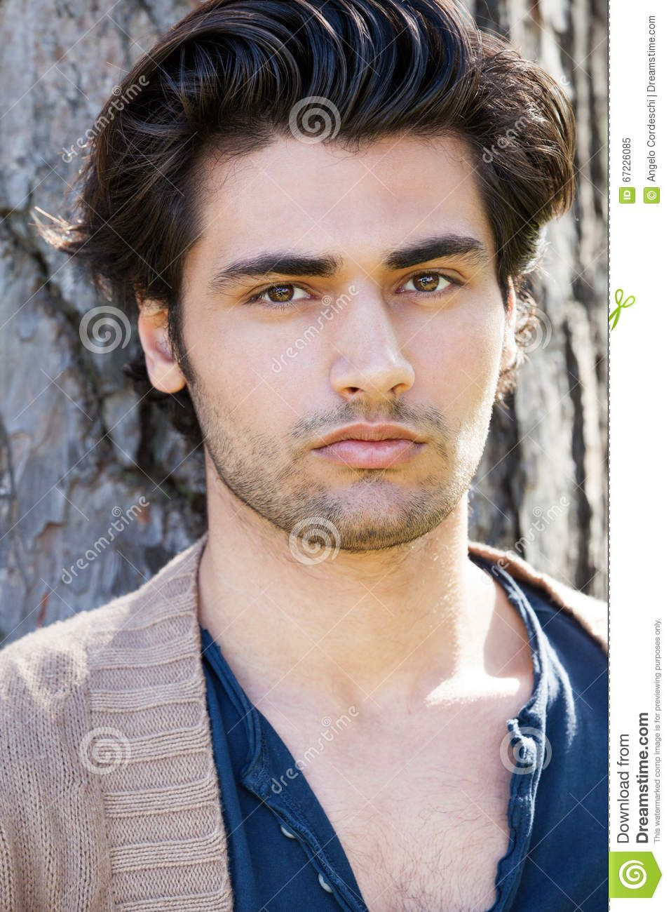 Handsome Young Italian Man Portrait Stylish Hair Male Hairstyle
