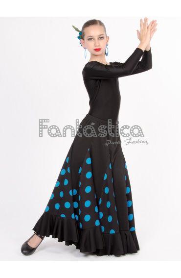 Falda de Flamenca / Sevillana con Volantes para Niña y Mujer Color Negro Lunares Azul Turquesa