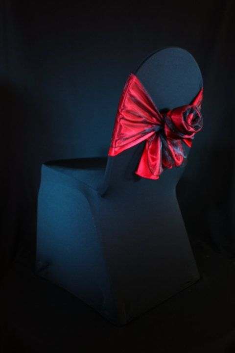 Red Rose Bow on Spandex Black Chair Cover but all in white