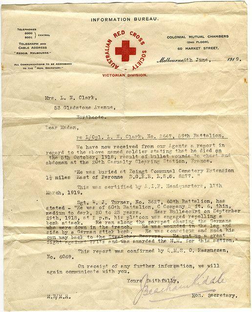 Australian red cross letter, WW1 1919 Australian Pinterest Red - new letter to minister format australia