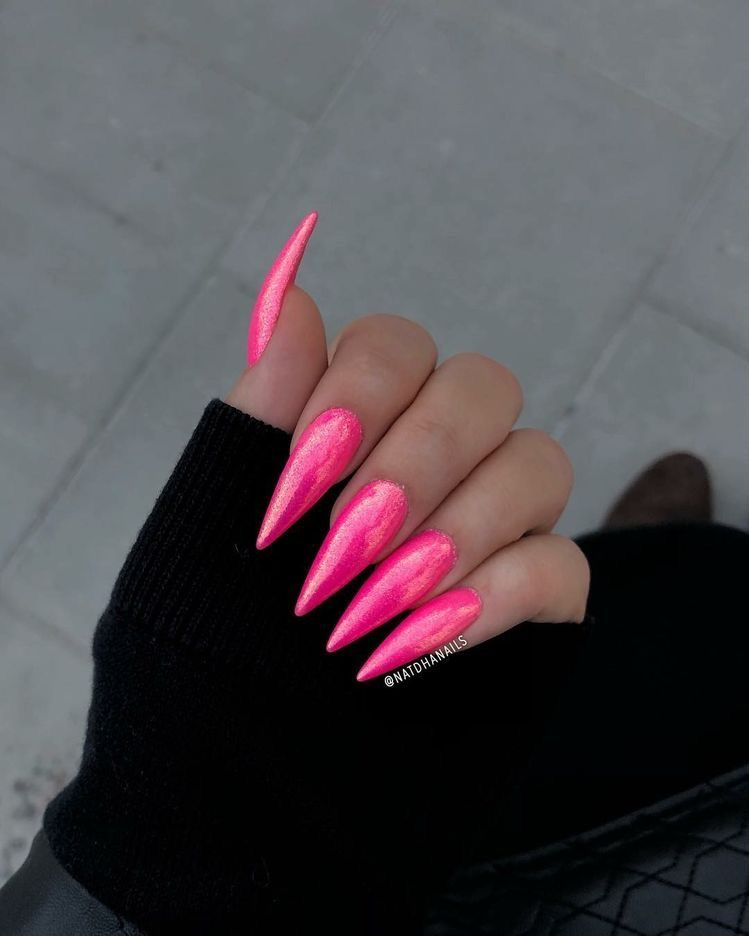 Pin By Janell Adams On Nails Pink Stiletto Nails Trendy