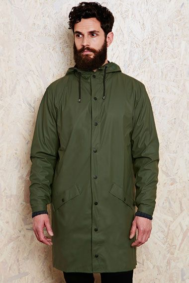 Rains Long Waterproof Jacket in Green at Urban Outfitters