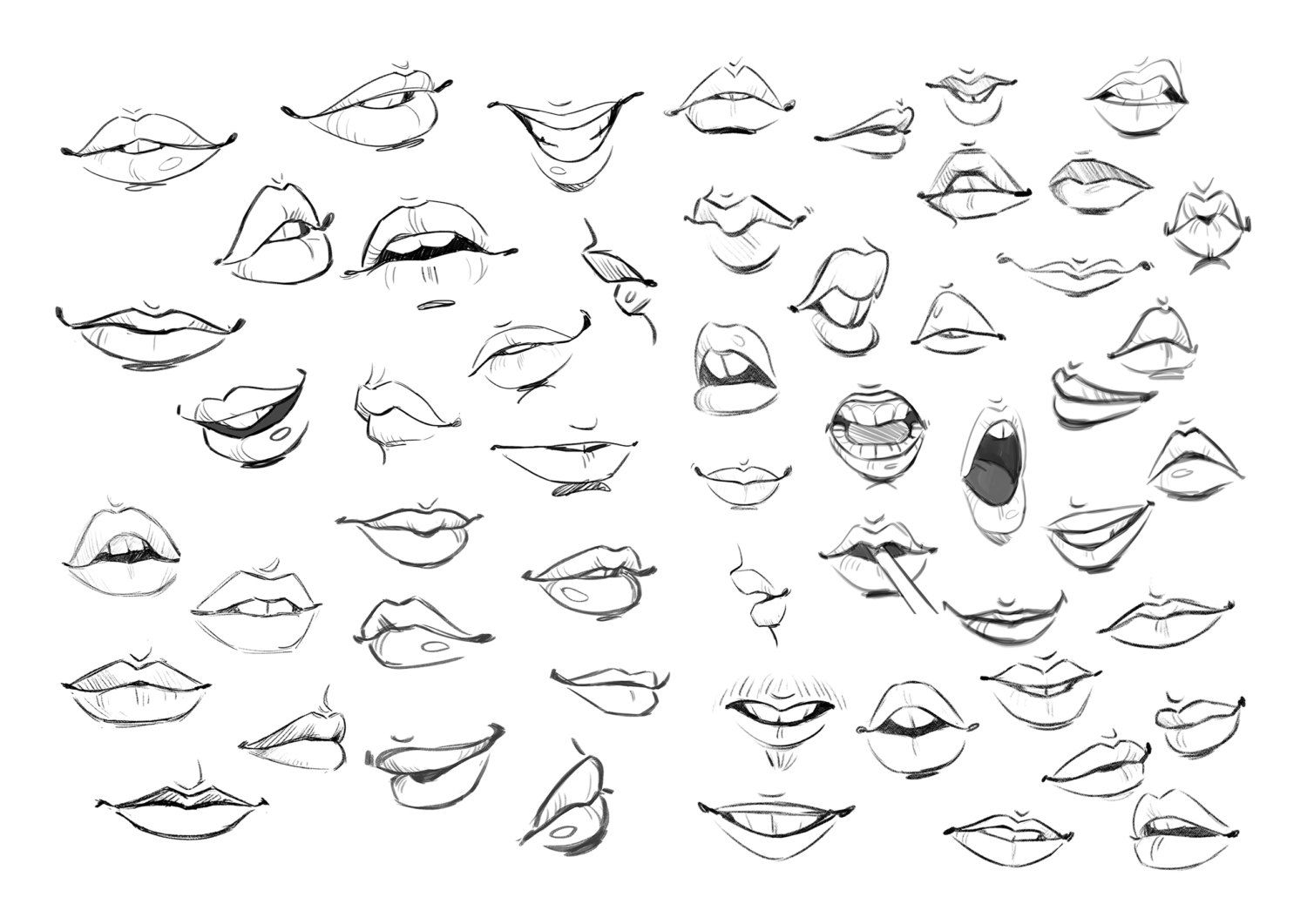 Mouths print by daniellepioliart on Etsy Lips drawing